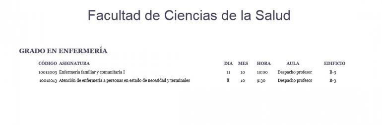 Calendario De Examenes.Calendario De Examenes Grado Enfermeria Facultad De Ciencias De La
